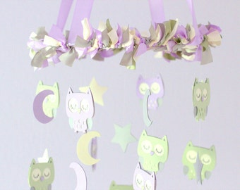 Owl Nursery Mobile in Lavender, Sage & Ivory- LARGE SIZE Baby Mobile, Baby Shower Gift