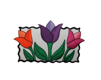 ID #6831 Large Multicolor Framed Tulips Plant Iron On Embroidered Patch Applique