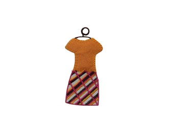 ID #7720 Orange Multicolor Dress Fashion Iron On Embroidered Patch Applique