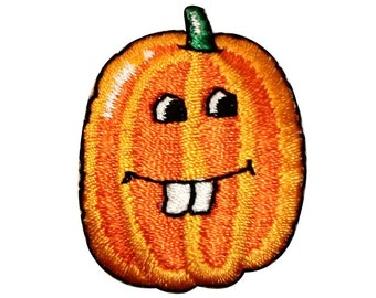 ID 0788B Buck Teeth Pumpkin Patch Jack O Lantern Embroidered Iron On Applique