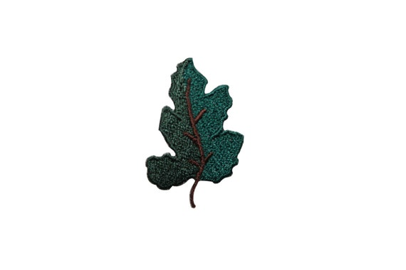 Id green oak leaf flora leaves iron on embroidered patch