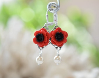 Red Anemone/Red Poppy Flower Earrings, Red and Black Flower Earrings,