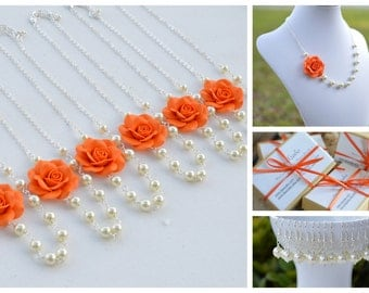 FREE EARRINGS, Orange Rose Necklace, Bridesmaid Necklace, Flower Necklace, Fall Flower jewelry