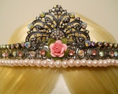 Pink Rose Crown, Tiara, for a Princess, Queen, Aurora Borealis, Galaxy, Gunmetal, Game of Thrones, Rhinestone, Birthday, Pearls, Reign, Kei