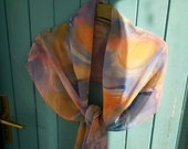 Leafswirl - Long Scarf Pure Silk Hand Painted Georgette in Apricot, Plum, Dusky Blue and Muted Rose