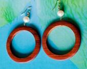 Wood hoop Earrings/ hoop earrings/ wood jewelry/ wood earrings/ beach wedding/ surfer girl jewelry