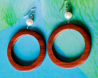 Wood hoop Earrings/ hoop earrings/ wood jewelry/ wood earrings/ beach wedding/ surfer girl jewelry