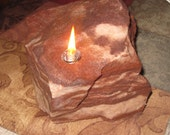 Rock candle - Anniverary / wedding -  Lapidary - Picturestone lapidary stones