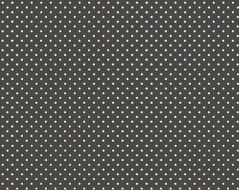 Charcoal with white dots fabric / Makower / patchwork quilting fat quarter