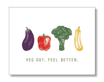 FEEL BETTER card. Get Well Soon Card. VEG Out Card. Vegetable Card. Adorable Get Well Card. Vegetarian Card. Healthy Get Well Card