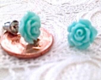 Rose Stud Earrings (Sky Blue)