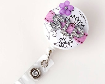 SLP Lilac Blossom Bling - Personalized Badge Reels - Unique ID Badges - Speech Pathologist Gifts - Personalized Badge Clips - BadgeBlooms