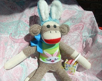 Easter  Red Heel Sock Monkey Doll With Bunny Sweater And Bunny Ears