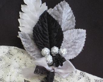 Grey Vintage Millinery Bundle  - Grey, Silver, Black - Velvet Leaves - Corsage Boutonniere - Embellishment, Trim, Gift Decoration, Supplies