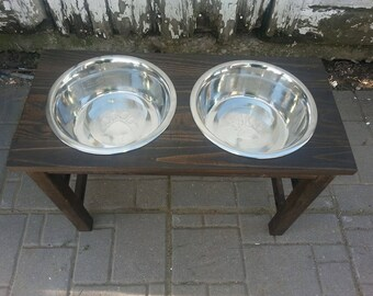 raised dog feeder / elevated food bowls  / great dane feeder (extra Large) tall elevated food bowls / 24 inch raised wood dog feeder