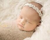 Newborn halo headband - cream, ivory, white - photography prop