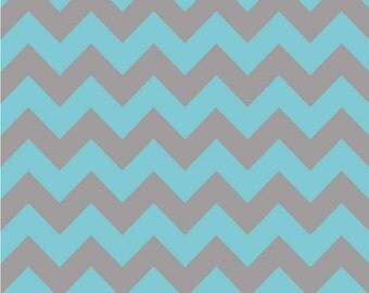 Medium Chevron Aqua/Gray by Riley Blake Designs -  1 Yard Cut - Chevron Fabric
