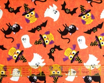 Trick or Treat - Orange Halloween Fabric - Half  Yard Cut - Halloween Fabric - A E Nathan CO Fabric.