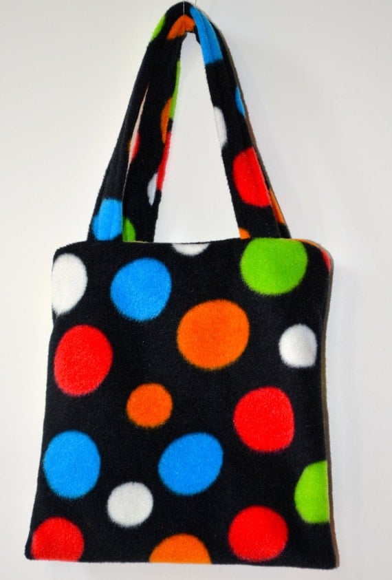 Purse. Girl's Purse.  Child's Bag In Black With Multicolored Polka Dotted Fleece