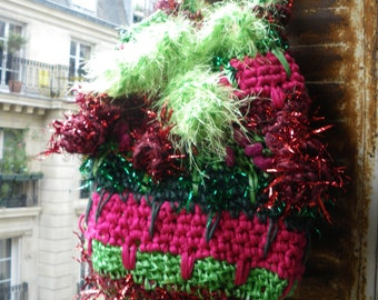 Handmade crochet faery big tote,bag,red,green,ruffled,hippie,boho,psychedelic,rainbow color,magic fibers,OOAK LAMAMADESMATOUS