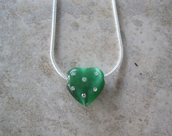Green Heart with Crystals on Sterling Silver Chain, Green cat's eye heart pendant