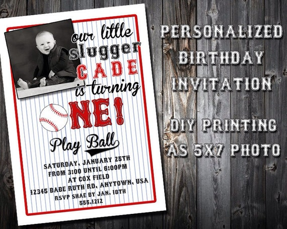 Baseball Themed Birthday Party Invitation Photo or NonPhoto