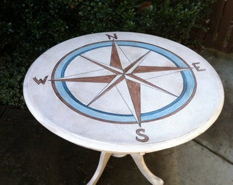 SOLD -OOAK Dining Table Compass Nautical Hand Painted and Distressed Crackled Accent Table Chic Cottage French Country