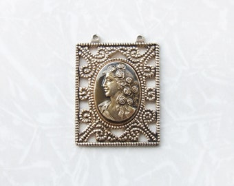Vintage Filigree Cameo Pendant, Romantic Brass Pendant, Supply Pendant