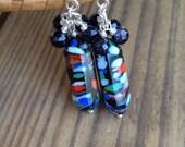 SALE. Vintage Romance Glass Earrings