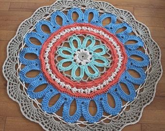 Ready to ship 5ft(144cm) handmade chunky crochet mega doily  FLOWER rug/ MULTICOLOR