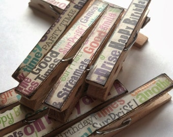 Birthday decoupage clothespins set of 10 - multi color