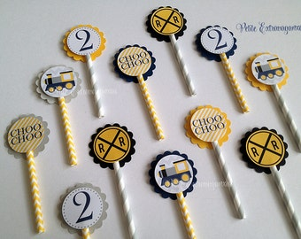 Choo Choo Train Cupcake Toppers - Set of 12