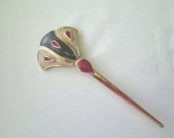 Papyrus style pin gold metal with enamel