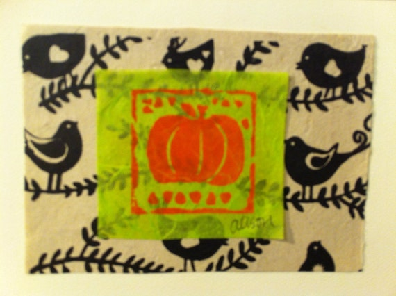 Pumpkin print with birds 5x7 card
