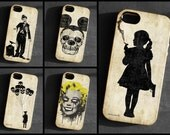 2 IPhone 4/4S/5 cases,zombie,Marilyn,Chaplin,Mickey,skull,TPU,Gel Silicone,Cover,iPhone,gothic art