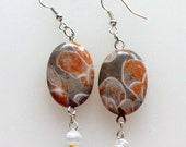 Polished Fossil Taupe and Rust Earrings