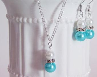 Bridesmaid Pearl White and Aqua Blue Jewelry Set Pearl Necklace, Pearl Earrings, Bridesmaid Jewelry, Bridesmaid Gift, Wedding Jewelry