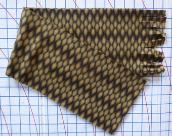 "Mixed Brown Bubble Fleece Simple Scarf- No Sew, Anti Pill Fleece 7"" x 58""- Single Layer Fringed Casual Brown Scarves"
