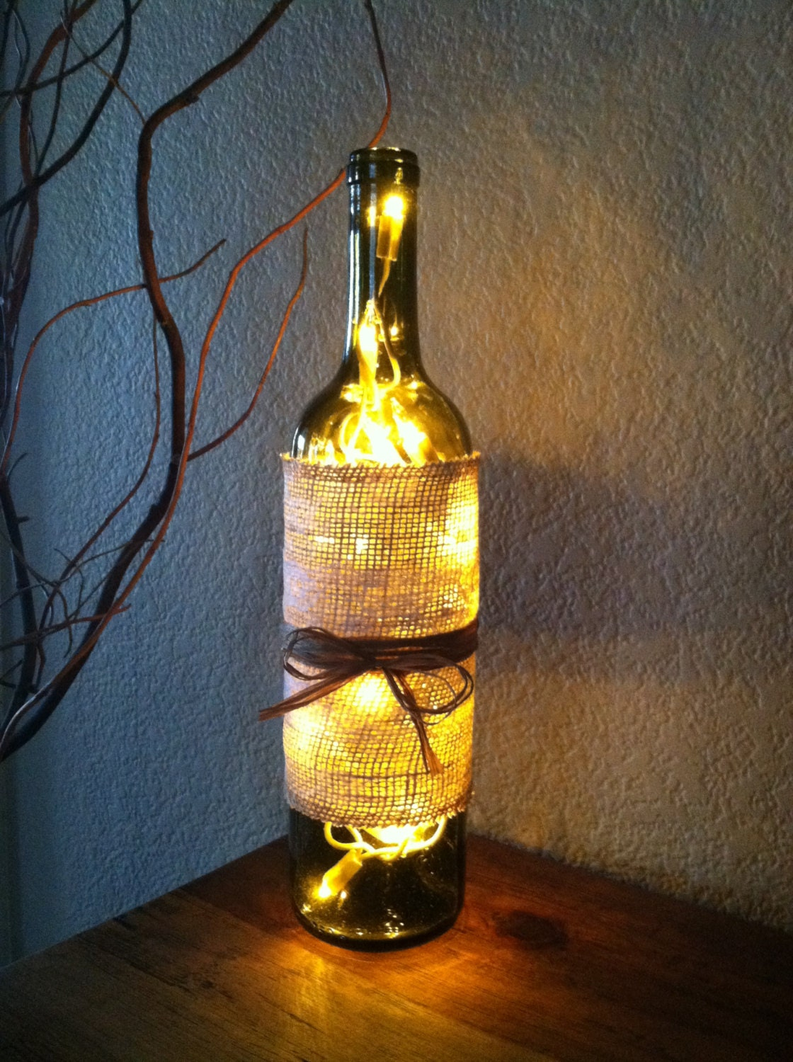 Wine bottle light burlap and lace lace covered burlap home for Burlap lights