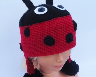 Crochet Ladybird Hat, Ladybug Crochet Hat, Earflaps Hat, Red and black Hat, Cute Hat, UK Seller