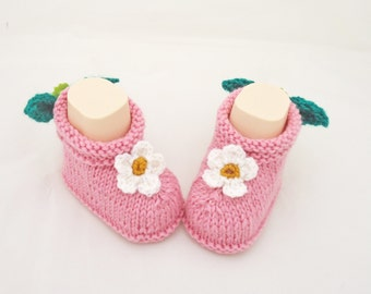 Handknitted Baby Booties, Cute Baby Booties, Pink Baby Booties, UK Seller