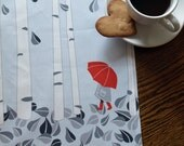 Red Umbrella Birch Tree Tea Towel in Grey and Red on Linen Cotton