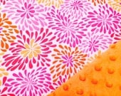 Baby Car Seat Canopy COVER or NURSING Cover: Pink, Orange, Yellow Bursts on White with Bright Orange Minky, Personalization Available