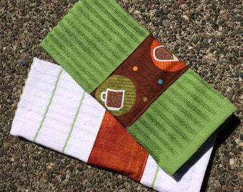 Kitchen Towel Hand Towel Set of Two (2) with Tossed Coffee Cups on Brown, Personalization Available
