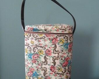 Vintage Vinyl Handbag with Faux Embroidery
