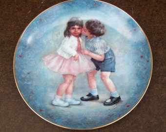 Blue decorative plate, vintage romantic dish platter, Rosemary Calder illustration print, First kiss, 80s, Calhoun's Collectors Society