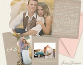 Mint and Rose Tri-fold Wedding Invitation - Boutique Tri Folded Design - Custom Typography - Blush Pink Wedding - Unique Wedding Invitations