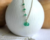 Thin Silver Chain with Gemstone Charm - Emerald Green - Genuine Emerald Pendant - Sideways Necklace - Everyday Jewelry