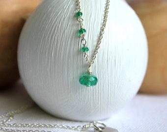 Thin Silver Chain with Gemstone Charm - Emerald Green - Genuine Emerald Pendant - Sideways Necklace - Everyday Jewelry