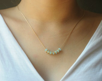 Layering Necklace, Everyday necklace, Dainty necklace,  Short necklace, Gold filled necklace, Beaded necklace, Light blue and gold necklace,